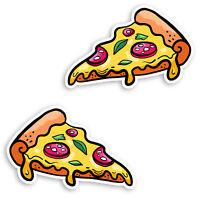 2 x 10cm Pizza Slice Vinyl Stickers - Junk Food Funny Kids Laptop Sticker #30037