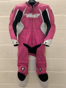 Arlen Ness Ladies Pink White 5908 One Piece Motorcycle Leathers UK 12