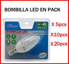BOMBILLA DE VELA LED 5W CASQUILLO PEQUEÑO E14 LUZ BLANCA 6400K PACK DESDE 5 UDS