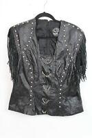 Vtg Rebel Spirit Women Size XL Black Leather Fringe Studded Motorcycle Jacket