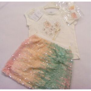SS21 Girls Outfit / Romany Set Sequin Skirt & Rose Top set by Visara 2-6 Years