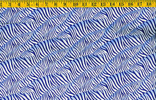 Wild Things Blue Tiger stripe on White BTY cotton quilt fabric by P&B