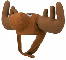 5b1106e4494 Plush Brown Crazy Moose Bullwinkle Animal Elk Hat With Antlers Deer Costume  Cap