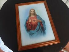 framed picture Jesus print blue background