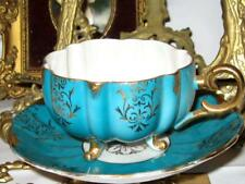 Royal Halsey 3 Footed TEAL GOLD IRIDESCENT Tea Cup and Saucer