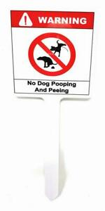 """Aluminum WARNING NO DOG Pooping and Peeing 10"""" x 4"""" One Leg Yard Sign for Lawn"""