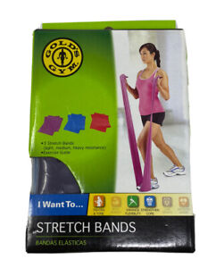 Golds Gym 3 Pack Stretch Bands Resistance Toning Flexibility Core With Guide New