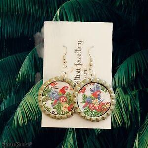 Handmade Parrot Bottle Cap Earrings Unique Gift