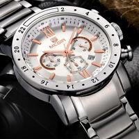 MEGIR Mens Sport Wristwatch Chronograph 24 Hours Steel Band Quartz Watch
