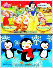 2x WALMART CHRISTMAS PENGUINS DISNEY SNOW WHITE GNOMES COLLECTIBLE GIFT CARD LOT
