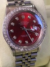 Rolex mens red diamond Dial & Diamond  Bezel 36mm Date just automatic watch