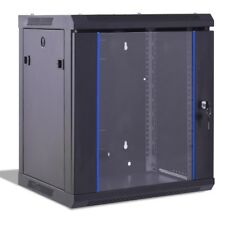 """12U Wallmount Data Network Cabinet with Lock and Glass Door 22"""" x 18"""" x 25"""" US"""
