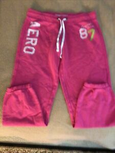 Aeropostale Pink Sweatpants with Elastic Waist and Drawstring Size M