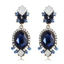 Betsey Johnson Sapphire Blue & White Crystal Dangle Oval Stud Earrings