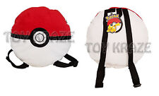 "POKEMON POKEBALL PLUSH BACKPACK! WHITE & RED LARGE STUFFED DOLL TOY BAG 11"" NEW"