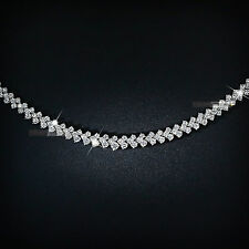 18k white gold gp simulated diamond roma lady chain necklace