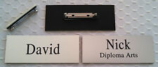 """Employee Name Tags Custom Engraved Smooth Silver w/ PIN attachment 1.25"""" x 3.25"""""""