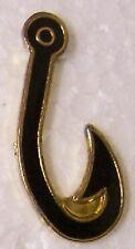 Hat Lapel Pin sports fishing Fish Hook black NEW