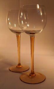 Pair 1970s Red/Rose/ White Wine Glasses. Elegant Amber Stem. Couple/ Home Drinks