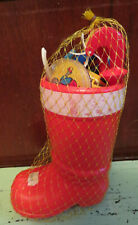 Vintage Christmas Santa Boot with Dime Store Plastic Toys mesh cover