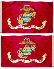 2x3 USMC Marine Corps Marines EGA 2 Sided 2-ply Spun Polyester Flag Pin & Clips