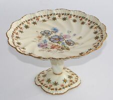 Antique Pointons England Tall Footed Cake Plate/Stand -PANSIES, Gilt Highlights