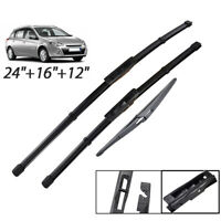 "Front Rear Wiper Blades For Renault Clio MK3 Grandtour 2008 - 2012 24""16""12"""