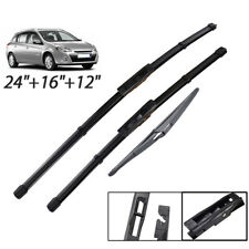 """Front Rear Wiper Blades For Renault Clio MK3 Grandtour 2008 - 2012 24""""16""""12"""""""