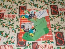 1940's VTG CHRISTMAS GREETING CARD UNUSED MOUSE ON PHONE IN STOCKING