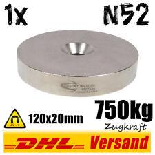 Neodym Magnet 120x20mm 750kg Zugkraft mit Senkung starke Scheibe zum Anschrauben