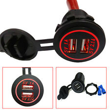 5V / 3.1A LED Car Motorcycle Universal Dual USB Charger Adapter Port Socket Kit