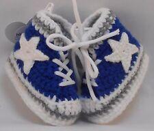 Custom Design Handmade Crochet Dallas Cowboys Footbal High Tops Baby Booties