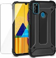 For Samsung Galaxy M21 Case Cover Heavy Duty Rugged & Glass Protector