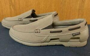 Crocs Men's Size M 11 Beach Line Slip On Boat Shoes Tan 15386 VGC