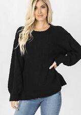 Popcorn Knit Pullover Sweater - Black - XL - NEW
