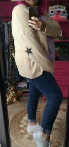 NEW Regular Fit Onesize 8-16 Beige Mohair blend knitted CARDI with star motifs.