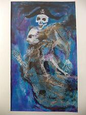 Cuban Artist Charo SIGNED ORIGINAL PIRATE SKELTON BONES BLUE WATER SCARY WIND B9