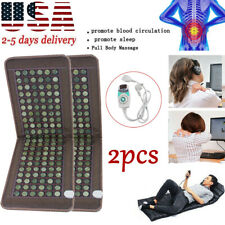 2xStone heating mat Tourmaline Natural Jade Negative Ions InfraRed Pad Home Care