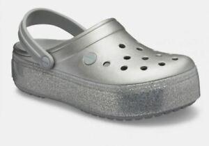 Crocs Women Platform Metallic Clog Slip On, Silver or Black Metallic color