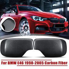 Pair Left+Right Carbon Fiber Door Mirror Cover Cap For BMW E46 1998-2005