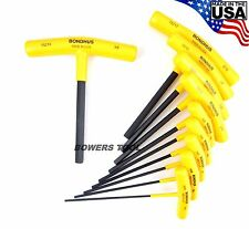 Bondhus 10pc 6in. T Handle Hex Wrench Set SAE Standard Inch 3/32-3/8in USA 15238