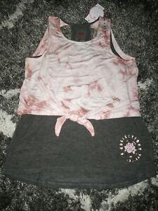 Girls justice keyhole bk 2fer tank size 8 new pink tye dye/charcoal w/logo