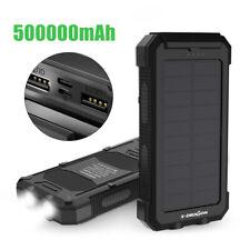 Waterproof 500000mAh Portable Solar Power Bank 2 USB LED Backup Charger Battery