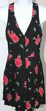 Womens Dress NEW LOOK Cut Out Back SIZE M Black Floral FREE SHIPPING EUC