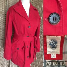 """BARBOUR Red WASHED TWILL CATHERINE Cotton Belt Trench Jacket Sz 12 L31"""" POCKETS"""