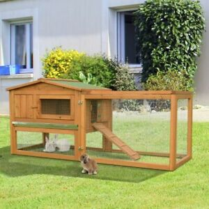 Weatherproof Rabbit Hutch with Run Bunny Outdoor House Chicken Coop Poultry Cage