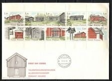 FARM HOUSES ARCHITECTURE ON FINLAND 1979 Scott 626, BOOKLET PANE ON FDC