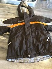 Boys Colombia Zip Up Hooded Winter Coat Brown Size 4/5