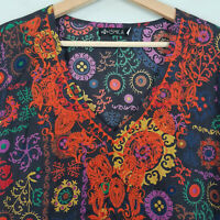 ISHKA | Womens embroidered Print Blouse Kaftan Top  [ Size S or AU 10 / US 6 ]