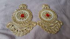 2 Or Métallique Broderie Pierres Perles Rouge Larme, Applique Motif decor